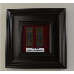 Framed pair of Civil War-era Captain's  uniform shoulder boards in worn condition; a  great display