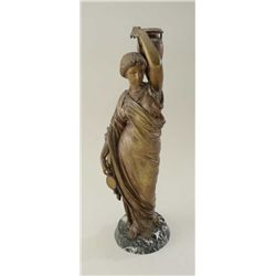 Ancient style lady with vase in art metal.  Cast 19th century on stone base. Approx.  19-1/2  in hei