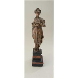 Ancient style goddess in art metal casting on  fancy layered stone base. 20  in height.  Copper fini