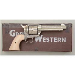 "Great Western Dakota Model 1873 SAA revolver,  engraved, .44/40 cal., 5-1/2"" barrel, faux  ivory gri"