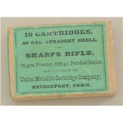 Original box of 10 cartridges for the Sharps  Rifle by Union Metallic Cartridge Company  with green