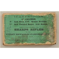 Original box of 5 cartridges for the Sharps  Rifle by Union Metallic Cartridge Co. with  green label