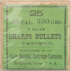Original box of 25 Sharps Patched Bullets by  Union Metallic Cartridge Company in .40  caliber, 330