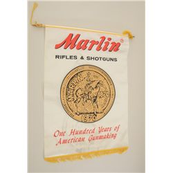 "Marlin Firearms advertising banner  commemorating 100 years of service, approx.  28"" x 20"" overall i"