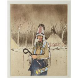 Framed colored etching on heavy rag paper by  Michael Coleman of an Indian Medicine Man in  Winter,