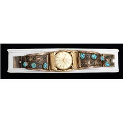 "Older Waltham 17 jewel watch in custom  turquoise and gold ornate watchband marked  ""12K GF"" and L &"