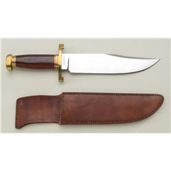 Voohris bowie style knife with heavy leather  sheath, both in overall like new condition;  knife is