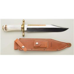 Massive Ruana signed clip point bowie knife  with stag grip and heavy Ruana-marked leather  sheath a