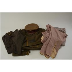 WW II enlisted mans uniform complete with  pants,  hat and tunic.  Near fine condition  shows button