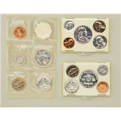 3 sets of minted US coins dated 1959-1960 and  1961 containing penny, nickel, dime,  quarters and ha