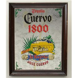 "Cuervo 1800 Tequila glass bar mirror in wood  frame in good condition approx. 20"" x 15"".   Est.:  $2"
