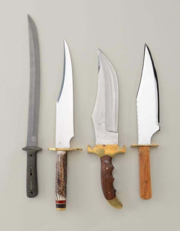 Lot Of 4 Large Modern Custom Knives Including An Unmarked Clip Point