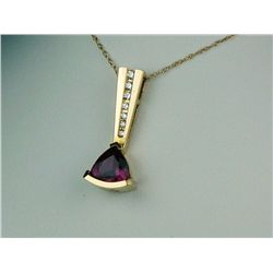 High quality 14 karat yellow gold ladies  custom made necklace set with a fine  trilliant cut red to