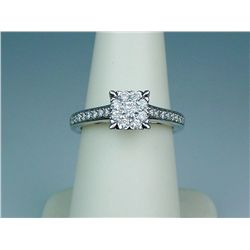 Dazzling 14 karat white gold ladies ring fine  set with 25 round brilliant cut diamonds  weighing ap