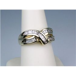 Stylish 14 karat yellow gold ladies designer  ring channel set with over 40 baguette cut  diamonds w