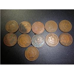 11 Asstd Date Indian Head Pennies
