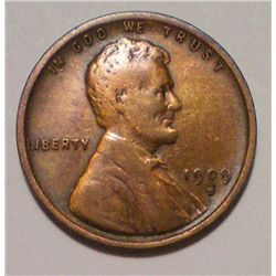 RARE 1909-S VDB LINCOLN WHEAT CENT, VF