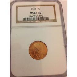 1940 Lincoln Wheat Cent, NGC MS-66 RD