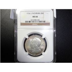 1936 NGC MS-66 LYNCHBURG SILVER HALF DOLLAR