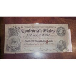 1864 $500 CSA CONFEDERATE CIVIL WAR CURRENCY (Hole)
