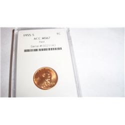 1955-S Lincoln Cent, Graded MS-67 Red, ACC