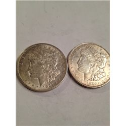 Two 1921 Silver Morgan Dollars