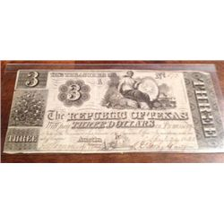 Uncirculated 1840 Republic Of Texas $3 Bill,Extremely Rare, Cut-Cancelled