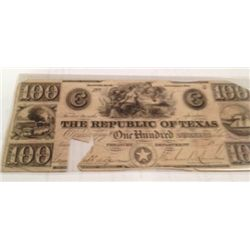 RARE 1839 CUT-CANCELLED UNCIRCULATED  $100 REPUBLIC OF TEXAS NOTE