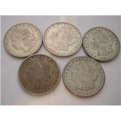 FIVE 1921 SILVER MORGAN DOLLARS