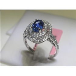 Blue Sapphire 84 Diamonds 14K White Gold Ring H Emperor