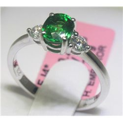 1.05 Carat Tsavorite and .24 Carat Diamonds 18K WG Ring