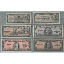 6 Diff Old Cuban Currency 1949-60 1, 5, 10, 100 Pesos