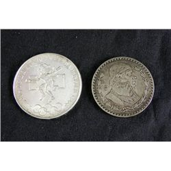 2 Mexico Silver Coins 1 Peso 1957 25 Peso 1968 Olympic