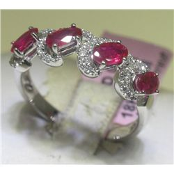 1.03 CT Ruby and .22 CT Diamonds 18K White Gold Ring