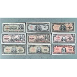 9 Diff Early Cuban 1949-1960 Currency Paper Money