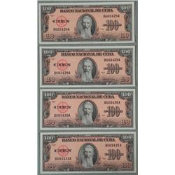4 CU Sequentially Numbered Cuban 100 Pesos Bills