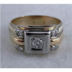14K Solid Gold Mens Diamond Ring 6.5 Grm .37 Ct 7 1/4