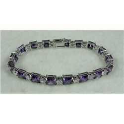 Sterling Silver Amethyst and CZ Bracelet