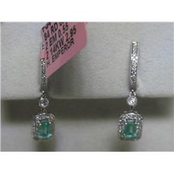 .55 CT Emerald and .25 CT Diamonds 14K WG Earrings
