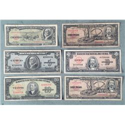 5 Diff Old Cuban Currency 1949-1960