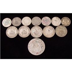 1 Lot 13 Great Britain Silver Coins Crown, Shil 1922-36