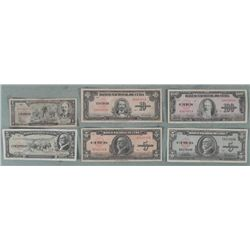 6 Diff Old Cuban Currency 1950-60 1, 5, 10, 100 Pesos