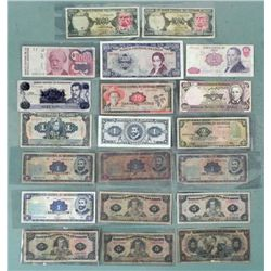 Lot 20 Pcs Central & So American Old Paper Currency