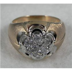 10K Solid Gold Mens Diamond Ring 9.6 Grm .90 Ct