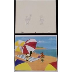 Animation Original Cel Drawing Bam Bam Pebbles Exstatic
