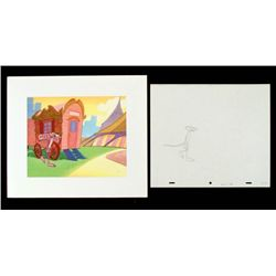 Cel Orig Animation Pink Panther Drawing Background Walk