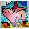 Jozza Original Pop Art Painting On Canvas Pigs Fly