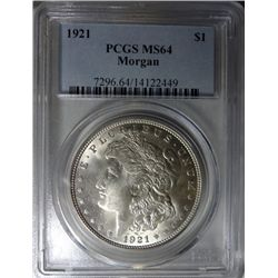 1921 MORGAN DOLLAR PCGS MS64