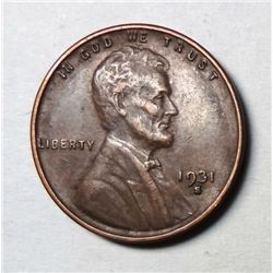 1931-S LINCOLN ONE CENT XF/AU NICE ORIGINAL