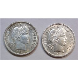 2 high grade Barber Dimes 1913 Choice BU60+ Frosty, 1914 BU60 Bright